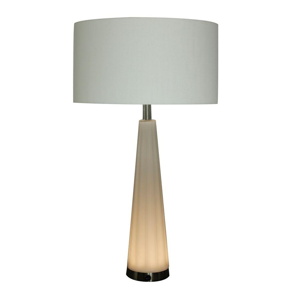 29 in. Frosted Glass and Satin Nickel Metal Table Lamp with