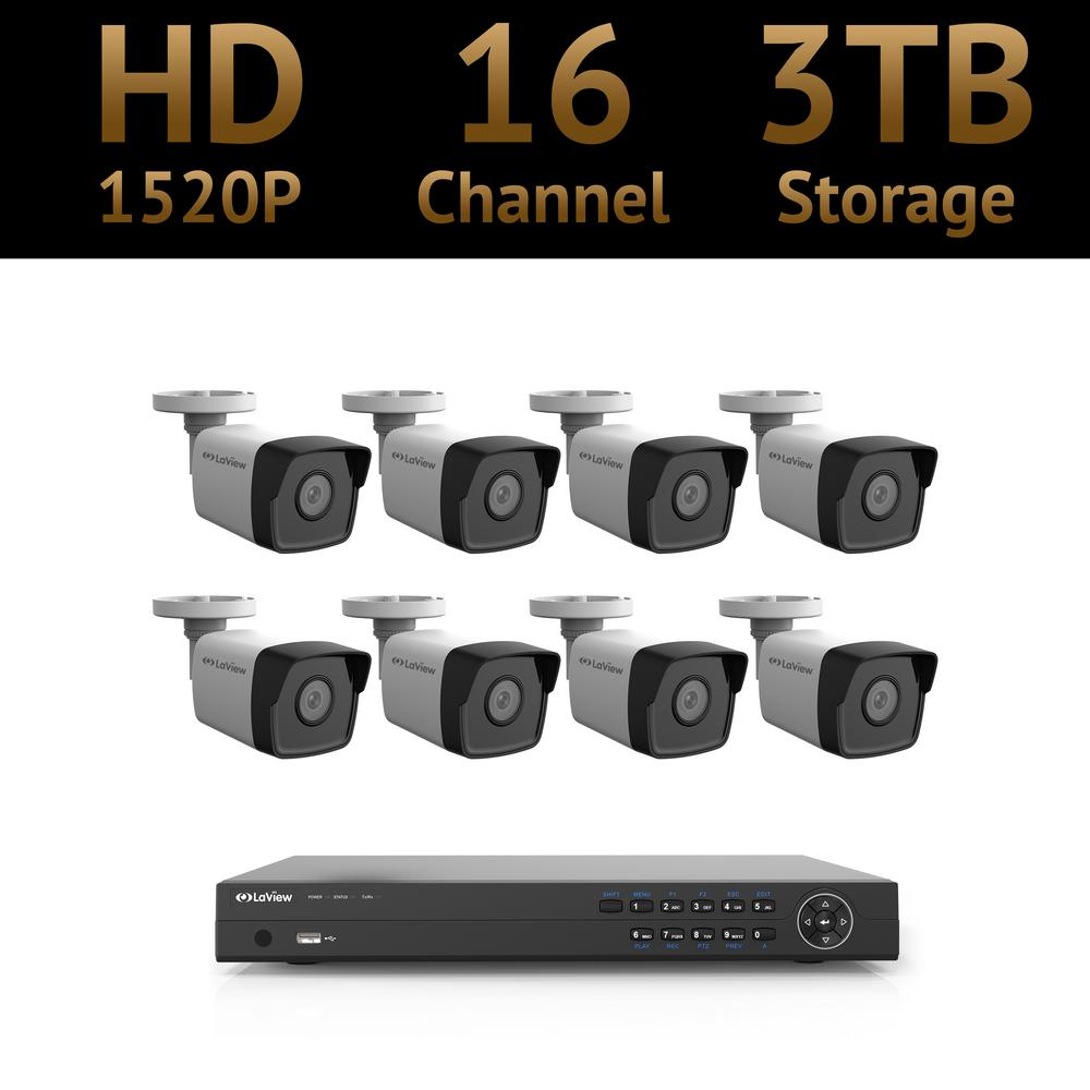 LaView 16-Channel Full HD 4MP IP Indoor/Outdoor Surveillance 3TB 4K NVR Security System (8) Bullet Cameras with Mobile Viewing