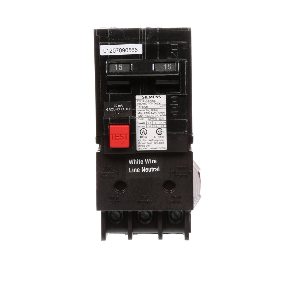 siemens 15 amp double pole type qe ground fault equipment protection rh homedepot com