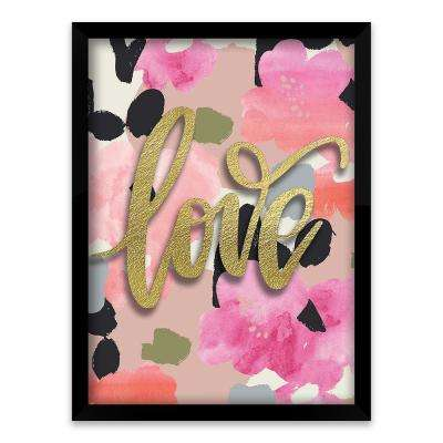 "17 in. x 21 in. ""Love"" by Nikki Chu Screen Print on Glass Shadowbox Framed Wooden Wall Art"