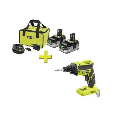 18-Volt ONE+ LITHIUM+ HP 3.0 Ah Battery (2-Pack) Starter Kit with Charger and Bag with Bonus ONE+ Drywall Screw Gun