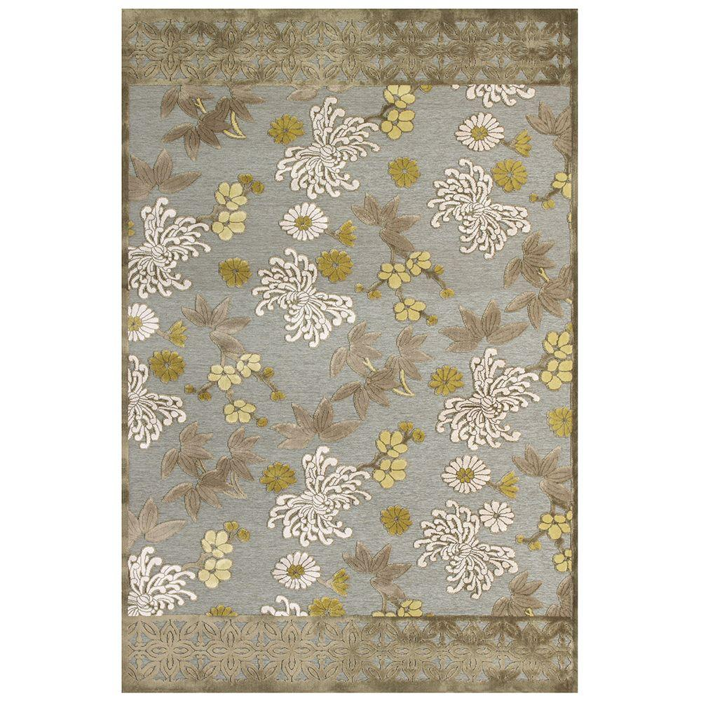 Feizy Saphir Mah Pewter/Dark Green 7 ft. 6 in. x 10 ft. 6 in. Indoor Area Rug
