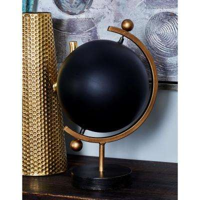 16 in. Decorative Globe with a Tarnished Brass Base