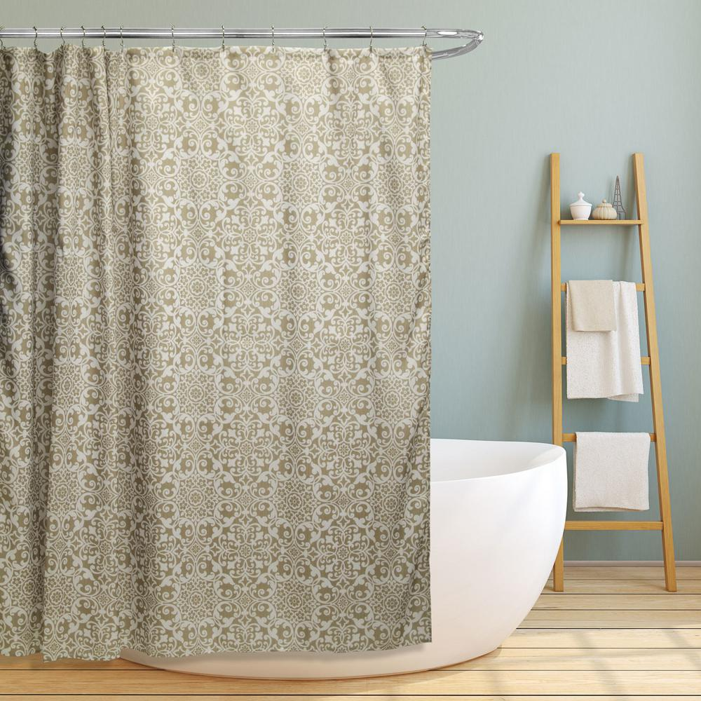 Internet 302548024 Lori 70 In Taupe Gold Floral Scroll Geometric Canvas Shower Curtain