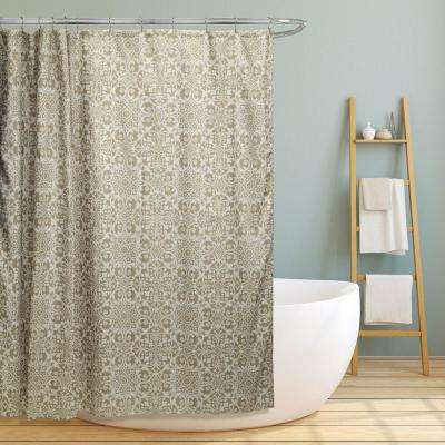 Lori 70 in. Taupe Gold Floral Scroll Geometric Canvas Shower Curtain