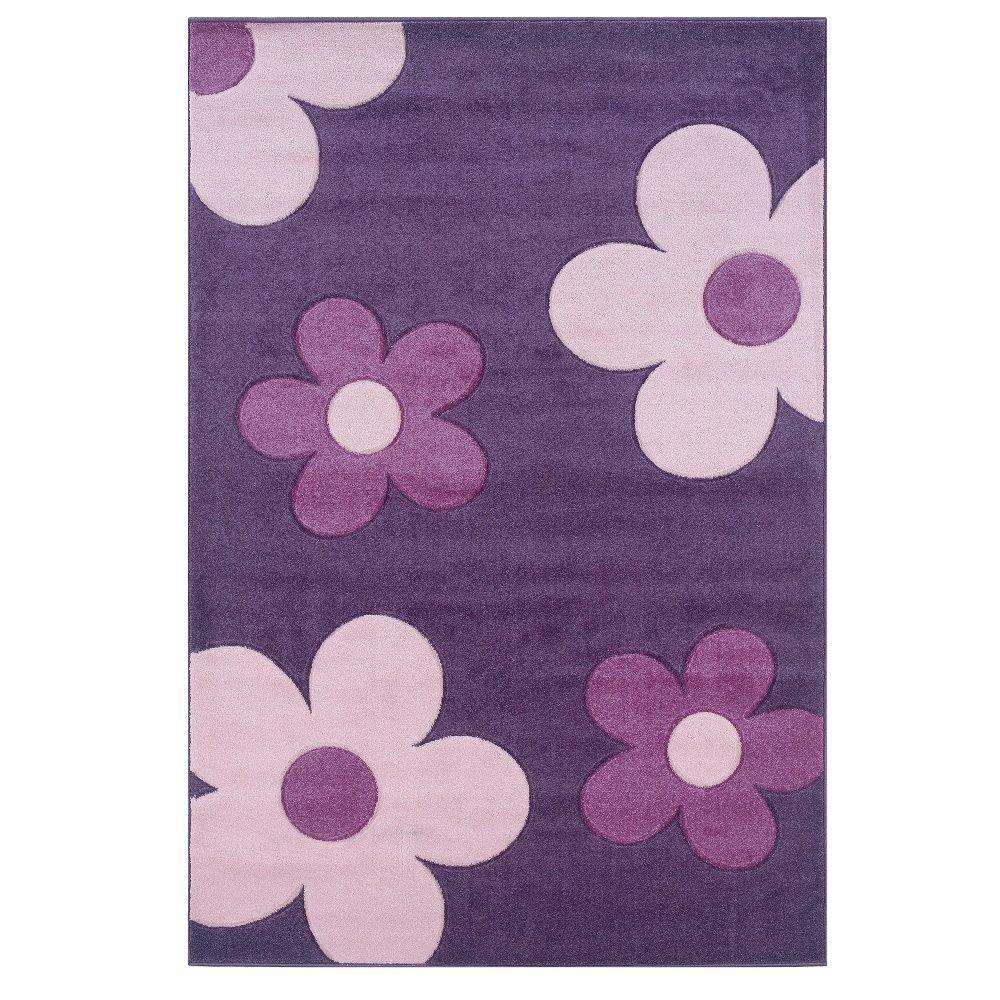 Baby Pink Bathroom Rugs: Linon Home Decor Corfu Collection Purple And Pink 5 Ft. X