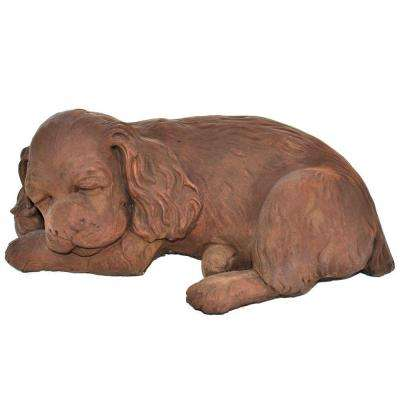 Cast Stone Sleeping Spaniel Puppy Garden Statue - Dark Walnut