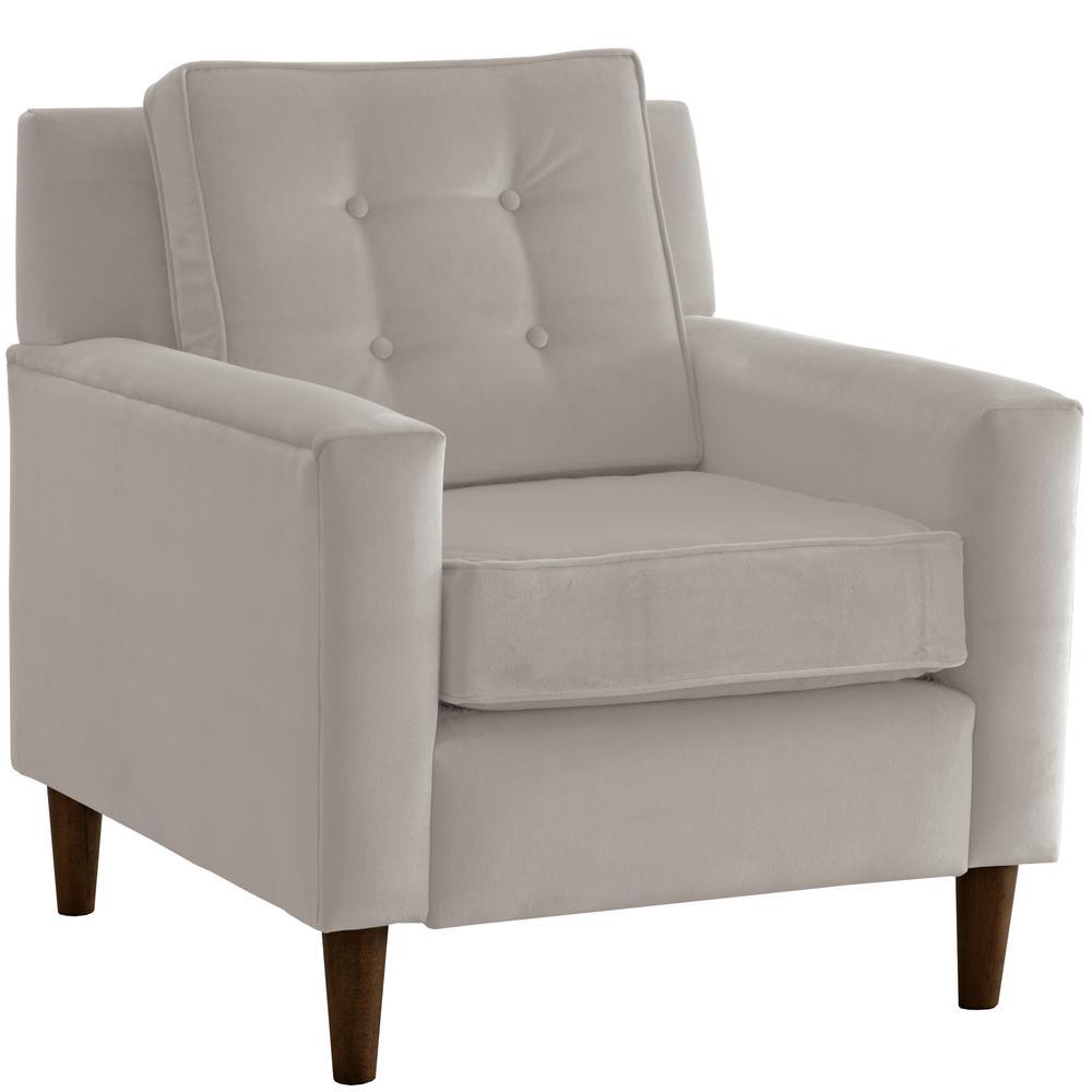 Velvet Light Grey Arm Chair