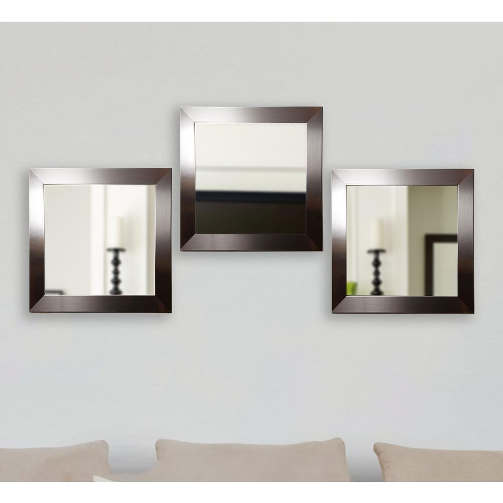 Silver Petite Square Wall Mirrors Set Of 3