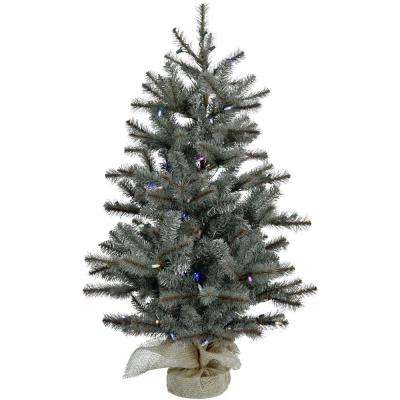 4 ft. Heritage Pine Artificial Tree with Burlap Base and Battery-Operated  ... - Battery Operated - Pre-Lit Christmas Trees - Artificial Christmas