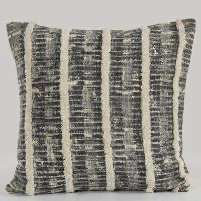 Lines and Stripes Fringe Trim Black/Gray 18 in. x 18 in. Throw Pillow