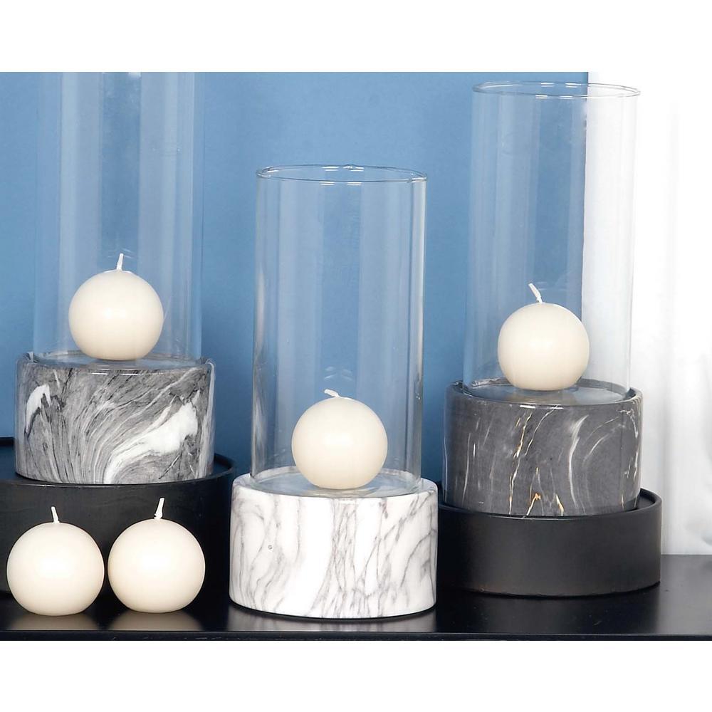Litton Lane 11 in. x 5 in. Ceramic and Glass Decorative White Hurricane Lamp