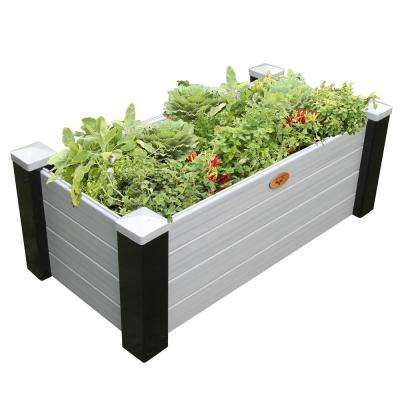 24 in. x 48 in. x 18 in. Maintenance Free Black and Gray Vinyl Raised Garden Bed