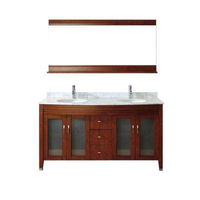 Alba 63 in. Vanity in Classic Cherry with Marble Vanity Top in Classic Cherry and Mirror