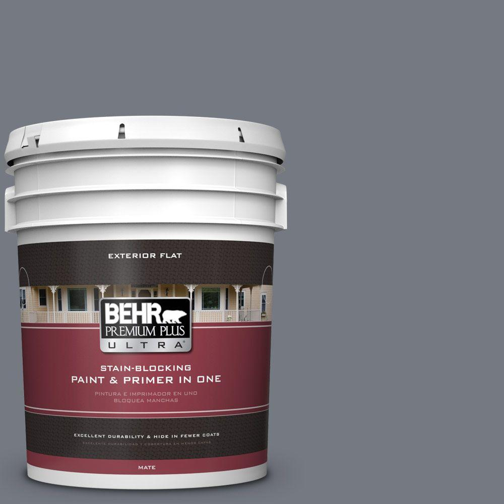 5 gal. #N510-5 Liquid Mercury Color Flat Exterior Paint