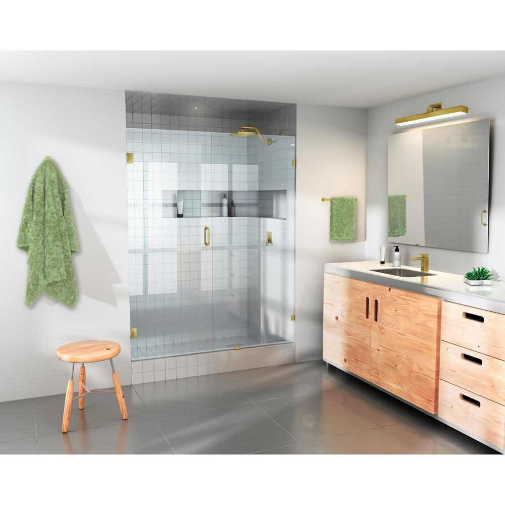 62 in. x 78 in. Frameless Pivot Wall Hinged Shower Door in Satin Brass