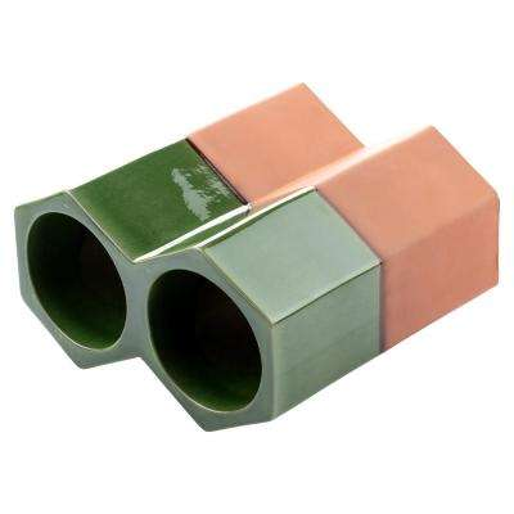 Botellero Green 5-1/8 in. x 9-1/4 in. 2-Bottle Terra Cotta Glazed Ceramic Stackable Floor Wine Rack