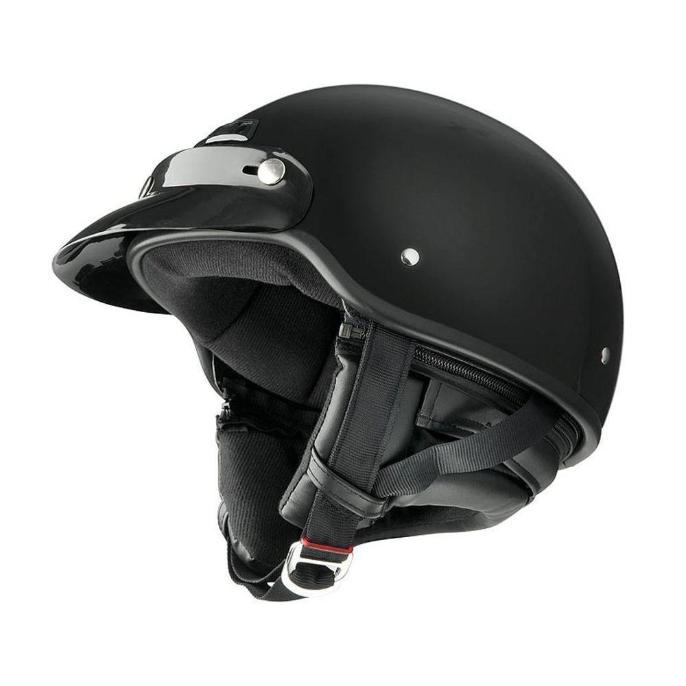 Raider Large Adult Deluxe Gloss Black Half Helmet