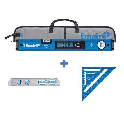 24 in. Magnetic Digital Box Level with Case and Magnetic Torpedo Level and Rafter Square in True Blue