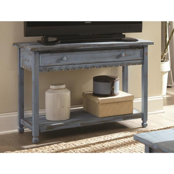 Country Cottage Blue Antique Media/Console Table
