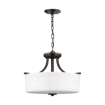 Canfield 3-Light Burnt Sienna Semi-Flush Mount