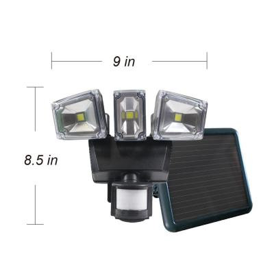 Triple COB Black Outdoor Solar Motion Activated Security Flood Light with Integrated LED