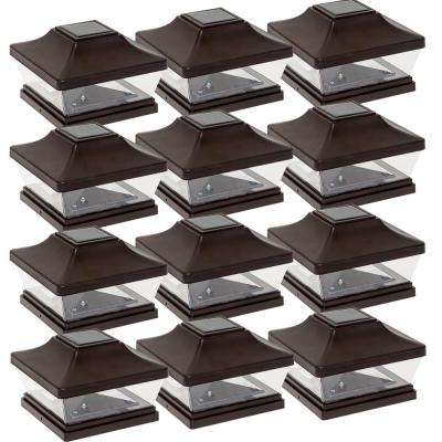 5 in. x 5 in. Solar Powered LED Oil Rubbed Bronze Plastic Post Cap Light with 5 in. and 6 in. Post Adapter (12-Pack)