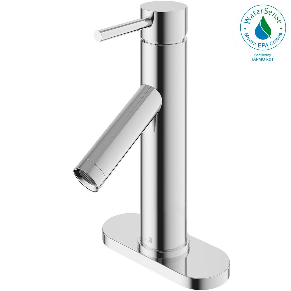 VIGO Single Hole 1-Handle Bathroom Faucet in Chrome with Deck Plate