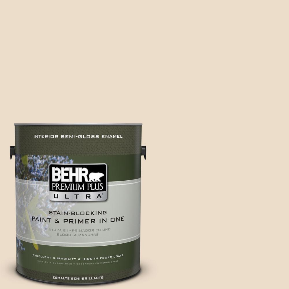 BEHR Premium Plus Ultra 1-gal. #N260-1 Vanilla Mocha Semi-Gloss Enamel Interior Paint