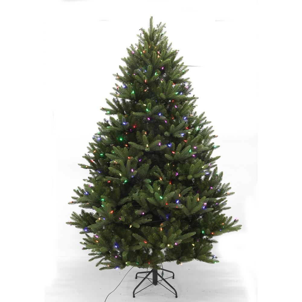 Artificial Christmas Trees Pre Lit Led: 7.5 Ft. Pre-Lit LED WRGB Douglas Fir Artificial Christmas