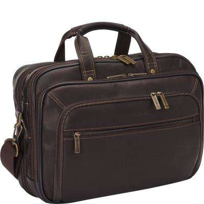Colombian Leather Double Compartment Top Zip Checkpoint Friendly 15.6 in. Computer Portfolio/Business Case