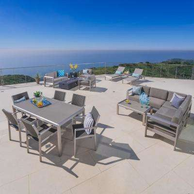 17-Piece Metal Patio Cnversation Dining Sectional and Lounge Set with Khaki Cushions