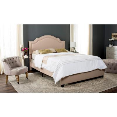 Theron Light Beige Queen Upholstered Bed