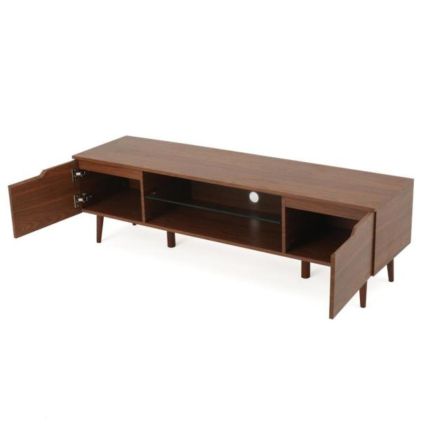 59 in. Walnut Wood TV Console Fits TVs Up to 56 in. with Storage Doors