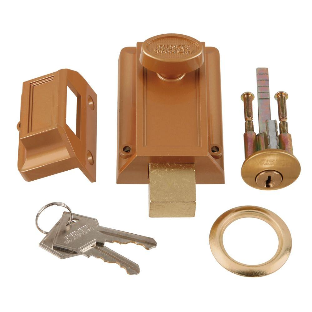 Polished Brass Door Night Deadlock Deadbolt and Locking Cylinder