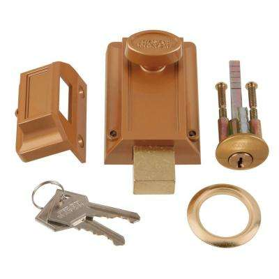 Polished Brass Door Night Bolt and Locking Cylinder