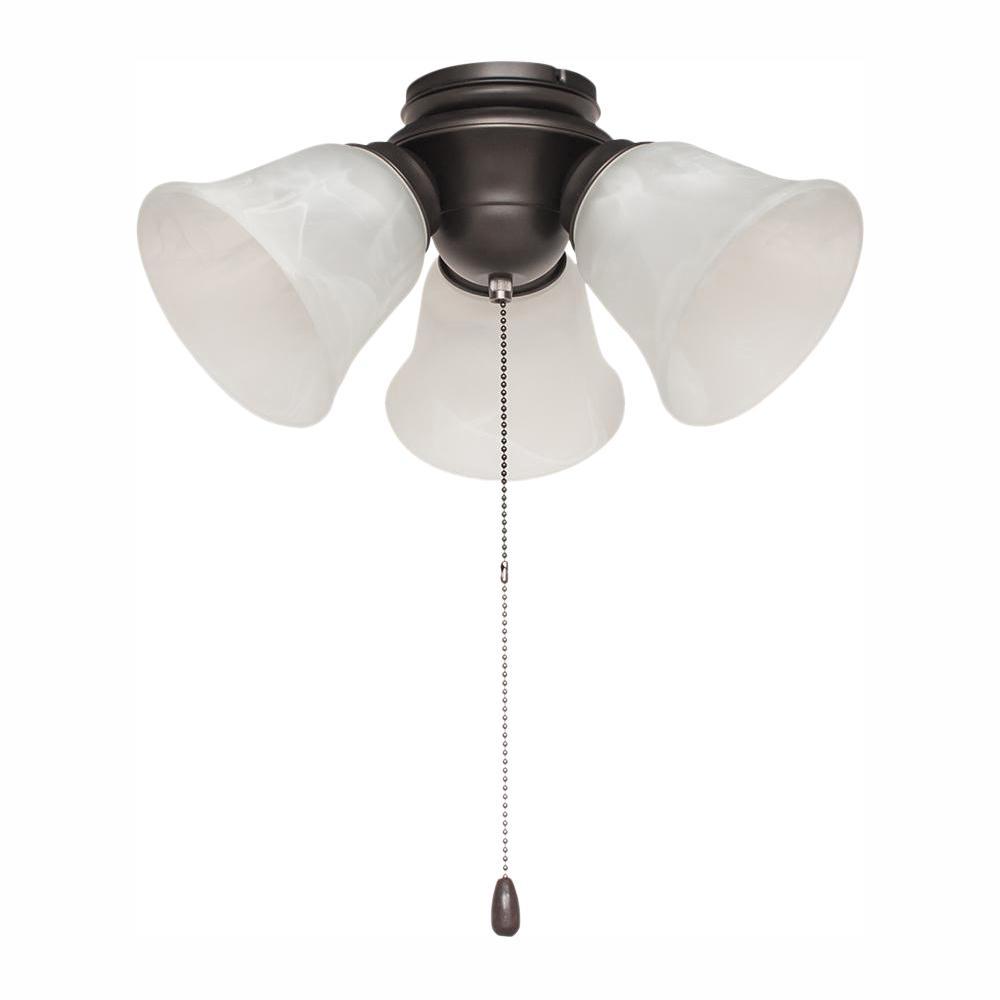 Hampton Bay 3-Light Satin Bronze Alabaster Glass LED Ceiling Fan Light Kit