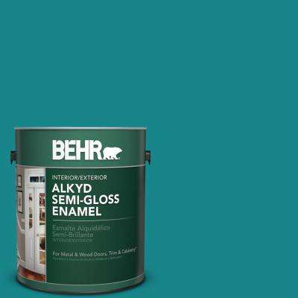 1 gal. #M460-6 Thai Teal Semi-Gloss Enamel Alkyd Interior/Exterior Paint