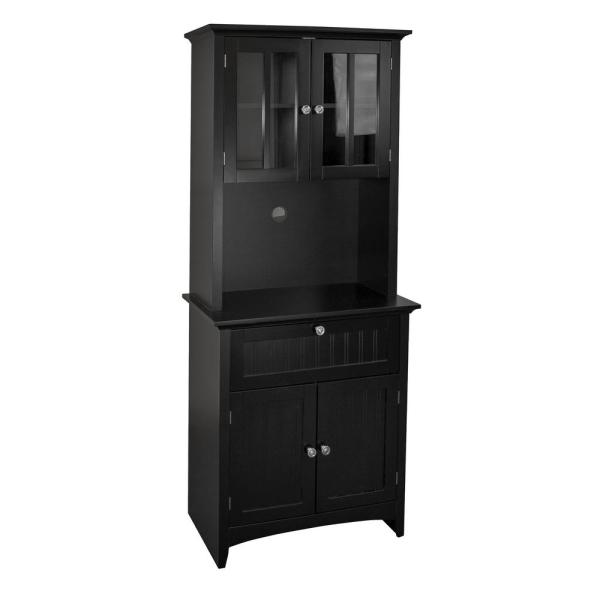 Casual Basics Black Buffet and Hutch with Framed Glass Doors and Drawer