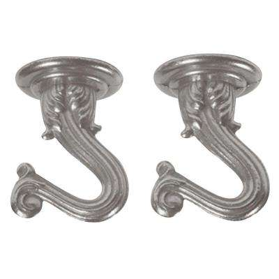 1-1/2 in. Brushed Pewter Swag Hooks (2-Pack)