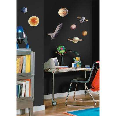 10 In. X 18 In Space Travel 24 Piece Peel And Stick Wall Decals