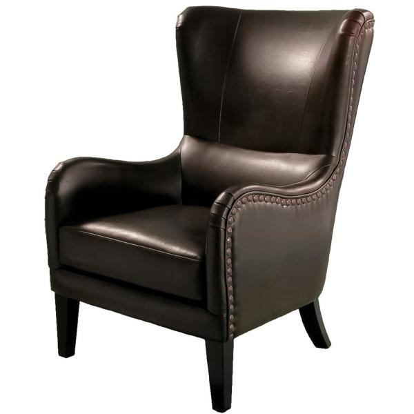 Lorenzo Studded Brown Bonded Leather Club Chair