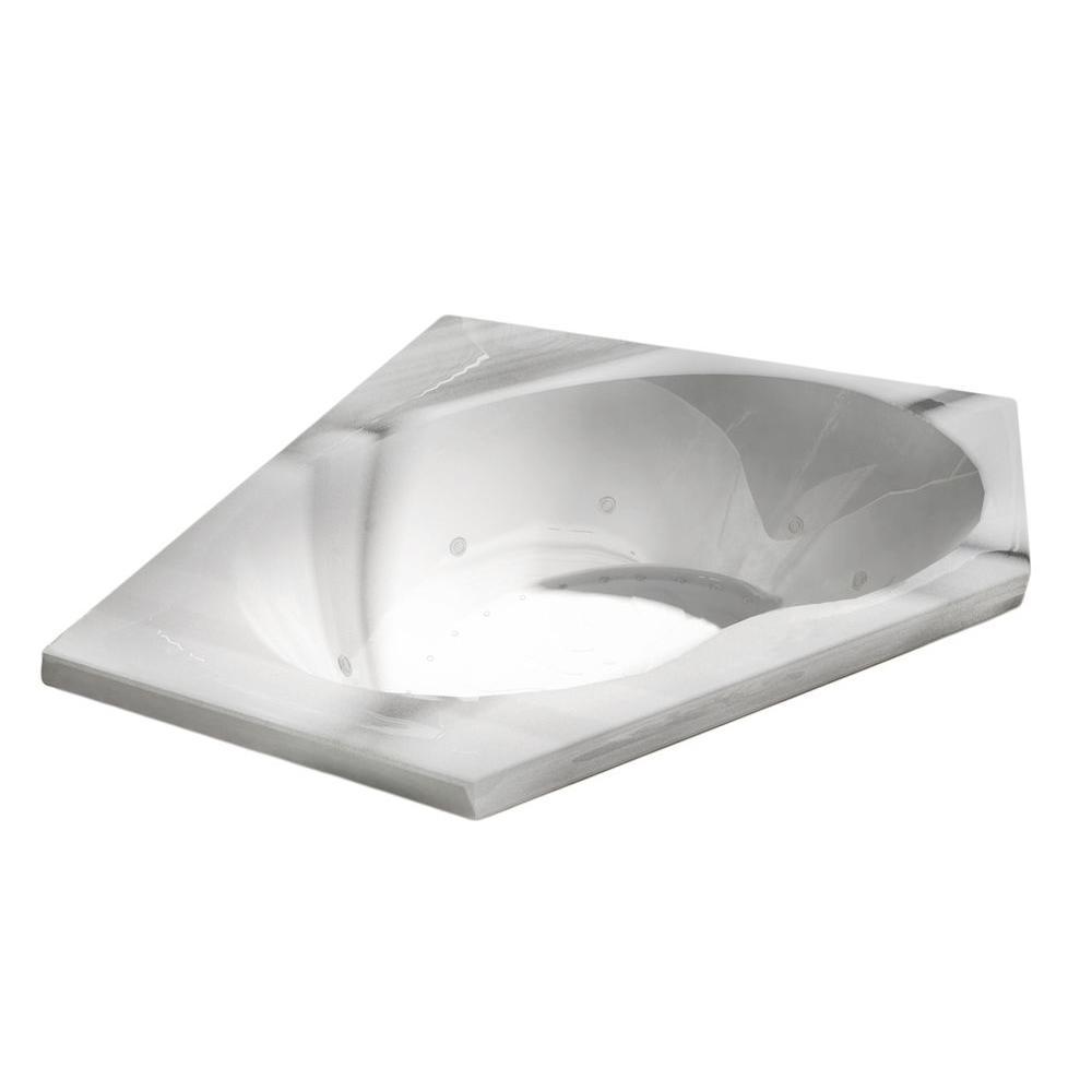 Quartz 5 ft. Acrylic Corner Drop-in Air and Whirlpool Bathtub in White