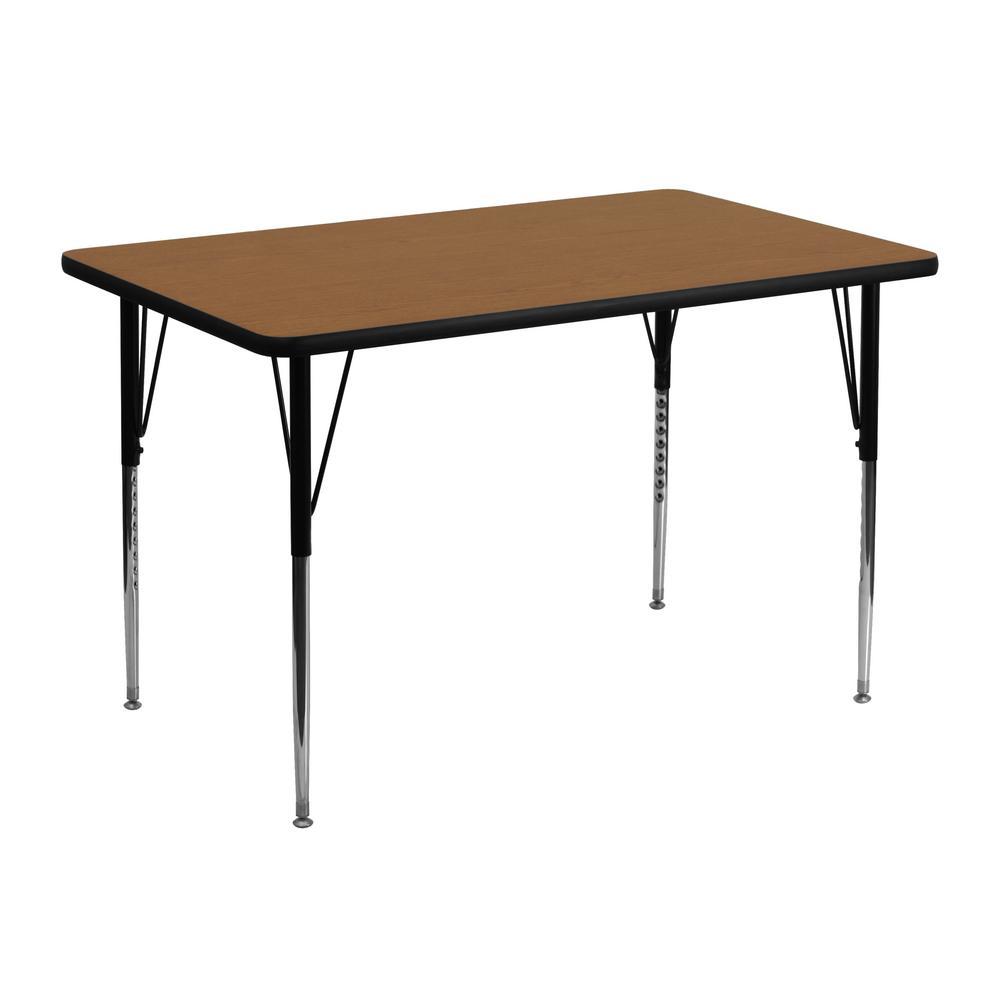Flash Furniture Oak Kids Table XUA3048RECOAKTA