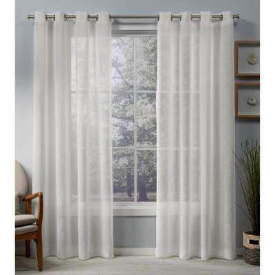 Belgian 50 in. W x 96 in. L Sheer Grommet Top Curtain Panel in Snowflake (2 Panels)