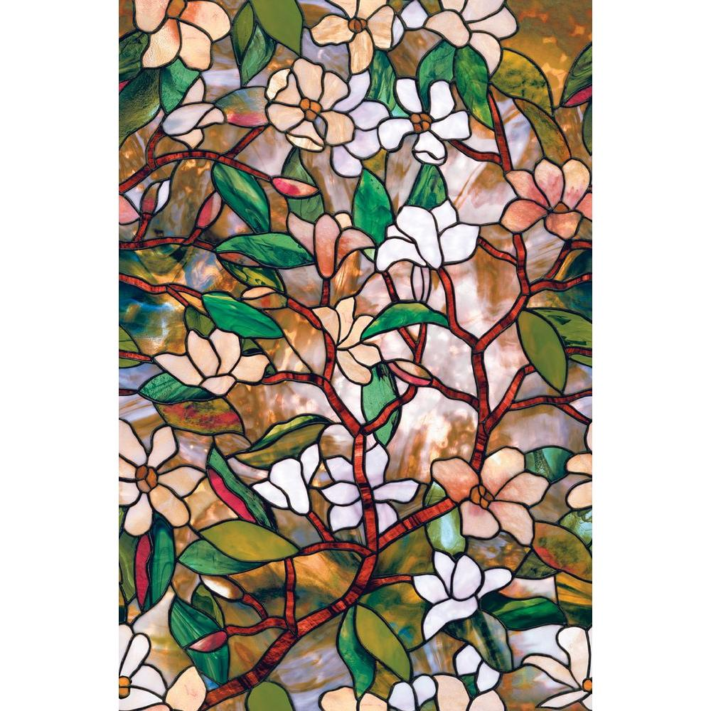 Lovely Decorative Stained Glass Windows #8: Magnolia Decorative Window Film