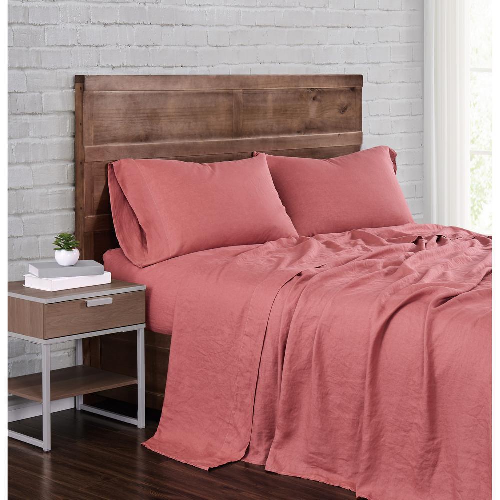 Brooklyn Loom Linen King Dusty Rose 4-Piece Sheet Set SS2469DRKG-4700
