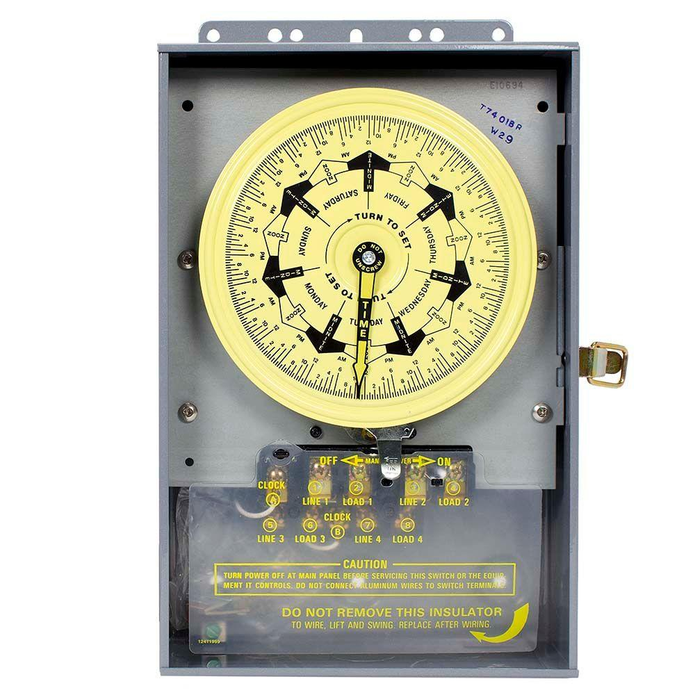 Intermatic T7000B Series 40 Amp 7-Day Mechanical Time Switch with Outdoor Enclosure - Gray