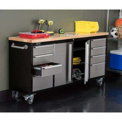 72 in. Black Rolling Workbench with Stainless Steel Face