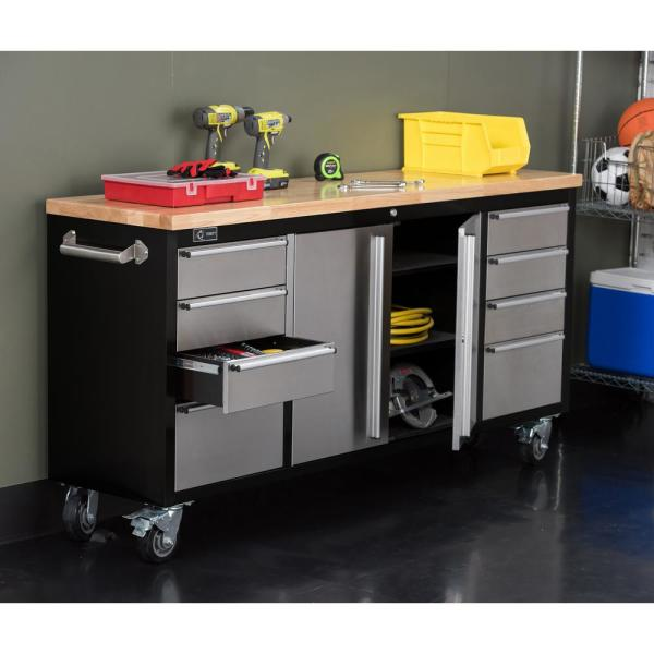 Trinity 72 in. 8-Drawer Black Rolling Mobile Workbench with Stainless Steel Face